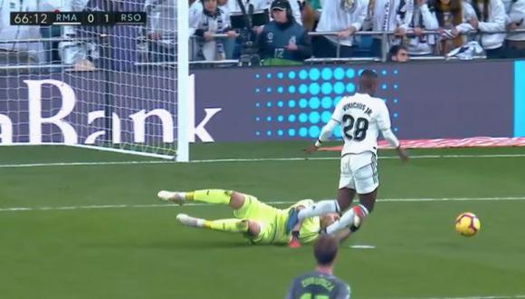 La acción que fue reclamada como penal en Real Madrid. (Foto: Captura ESPN)