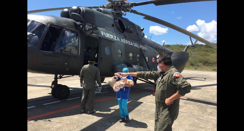 Amazonas. Gemelas recién nacidas fueron traídas en un vuelo de la Fuerza Aérea del Perú. (SAMU)