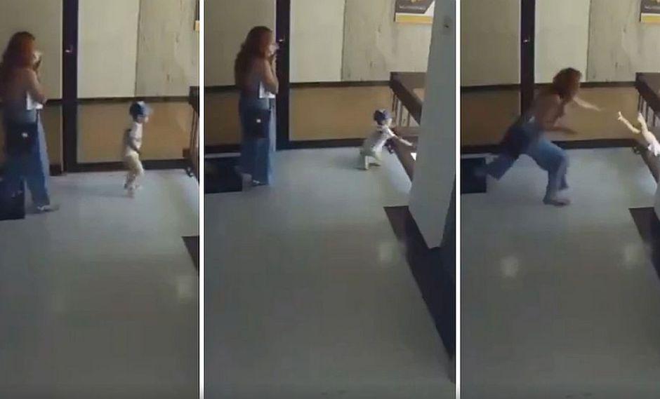 Las cámaras de seguridad captaron cuando una madre logra salvar a su bebé de una fuerte y mortal caída. (Foto: captura Facebook)