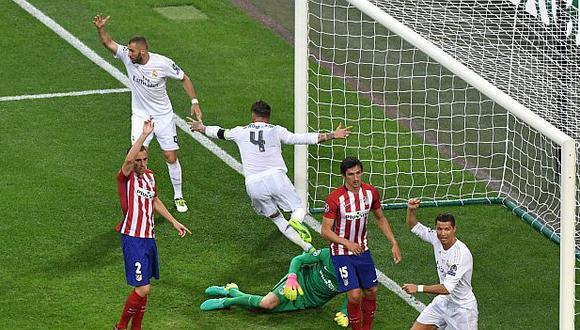 Sergio Ramos anotó el gol del 1-0 parcial ante Atlético de Madrid en esa final. (Foto: AFP)