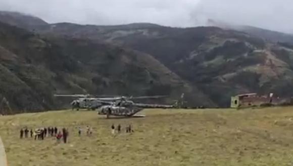 Helicóptero que trasladaba al presidente tuvo que aterrizar por prevención ante el mal tiempo. (Captura de video)