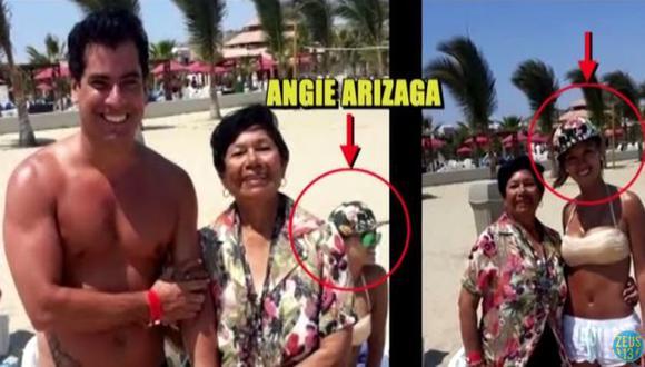 Angie Arizaga viajó a Tumbes acompañada de Miguel Ángel Zuloaga, productor de 'Ven baila, quinceañera'. (Captura de TV)