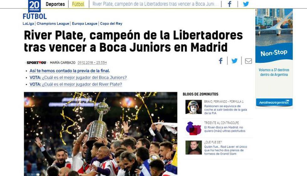 River Plate vs. Boca Juniors: Así informaron los medios del mundo la final de la Libertadores. (Captura: 20 Minutos)