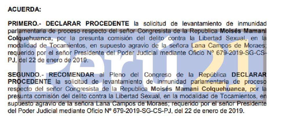 Informe de secretaría técnica recomienda levantar la inmunidad de Moíses Mamani