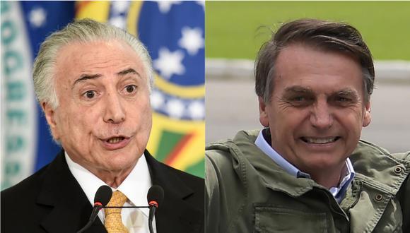 Temer le entregará el poder a Bolsonaro el 1 de enero próximo.   Foto: AFP