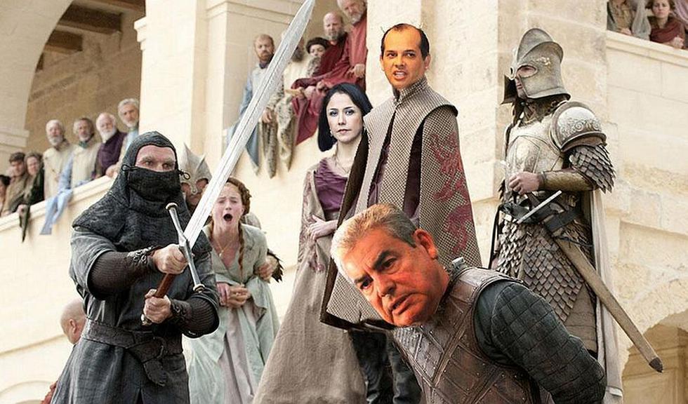 La renuncia de César Villanueva inspiró divertidos memes e imágenes. En esta, Nadine Heredia y Luis Castilla lo contemplan al más puro estilo de Game of Thrones. (Internet)