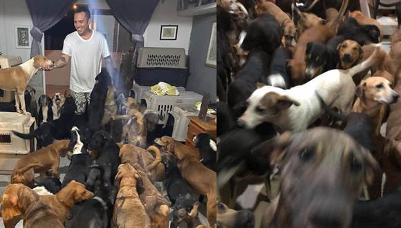 Ricardo Pimentel albergó en su hogar más de 300 animales. El huracán Delta tocó suelo mexicano el pasado miércoles alcanzando la categoría 4. | Foto: Ricardo Pimentel/Facebook