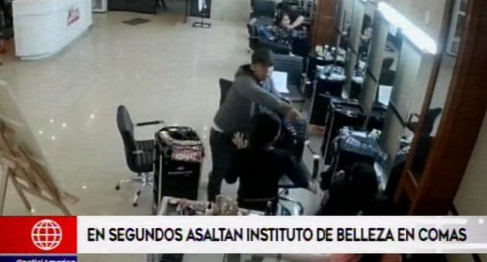 Roban en instituto de cosmetología. (Foto: Captura de video / América Noticias)