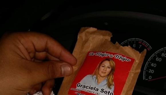 Candidata repartió ropa interior en un sobre con su nombre. (Foto: Difusión)