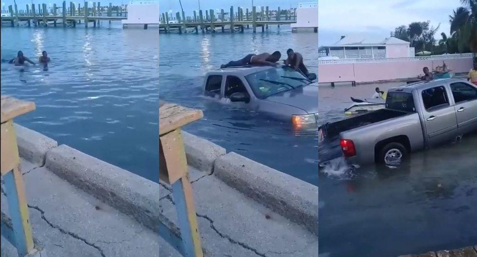 En EE.UU. se vivió un momento surrealista cuando unos pescadores lograron sacar una camioneta del agua. El video llegó a Facebook y no tardó en volverse viral. (Foto: captura)