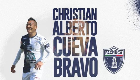 Christian Cueva fue anunciado oficialmente como jugador de Pachuca, el reciente viernes. (Foto: Pachuca)