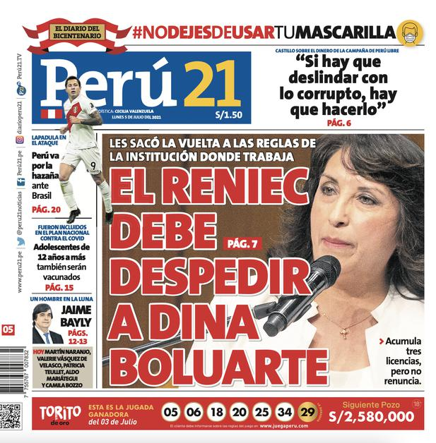 El Reniec debe despedir a Dina Boluarte.