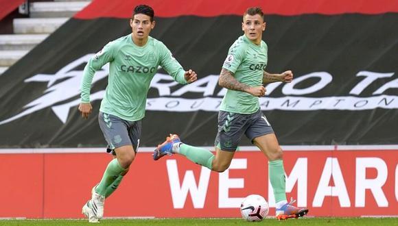 James Rodríguez sufre delicada lesión en Everton. (Getty Images)