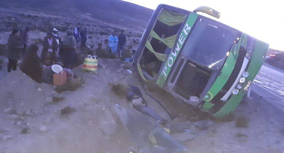 Accidente ocurrido en la madrugada en la vía Arequipa -Puno. (Miguel Idme)