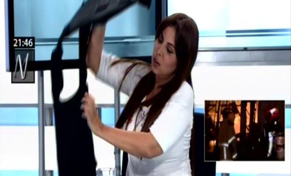 Patricia Chirinos enseña chaleco antibalas que utiliza para protegerse en campaña Elecciones 2018. (Canal N)
