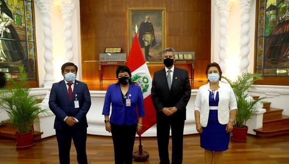 Presidente Francisco Sagasti se reunió este miércoles con representantes de Somos Perú. (Foto: Presidencia)