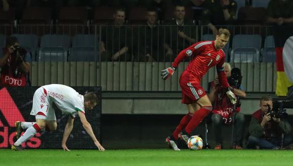Manuel Neuer se lució con una acción individual ante Bielorrusia.   (Foto: @DFB_Team_ES)