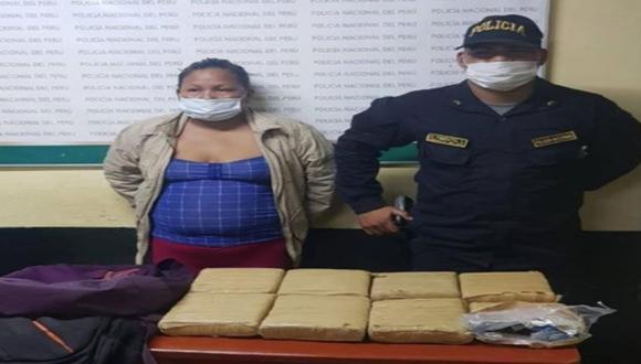 Loreto: Mujer conocida como 'Tía Corona' fue detenida en su vivienda con siete kilos de marihuana. (Foto PNP)