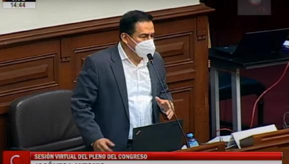 La conducción de la bancada por parte de José Vega fue cuestionada por los legisladores renunciantes al bloque. (Captura Congreso TV)