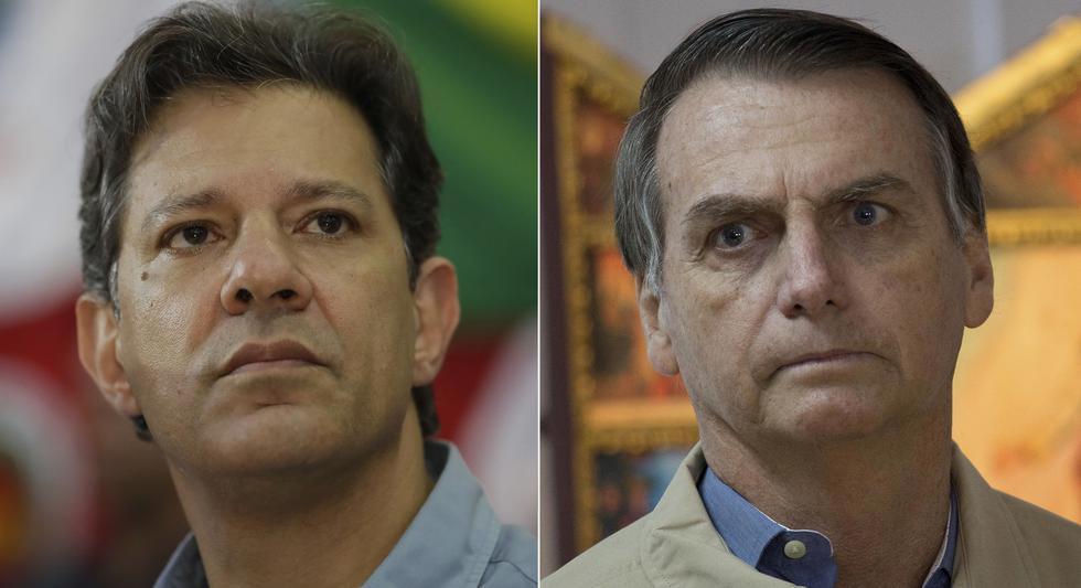 Candidatos a la presidencia de Brasil Jair Bolsonaro y Fernando Haddad (AP)