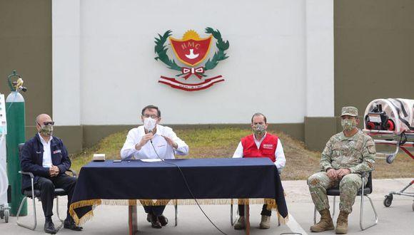 El presidente Martín Vizcarra se pronunció sobre el Congreso durante una visita al Hospital Militar (Foto: Presidencia)