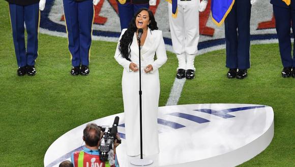 Demi Lovato en el Super Bowl 2020. (Foto: AFP)