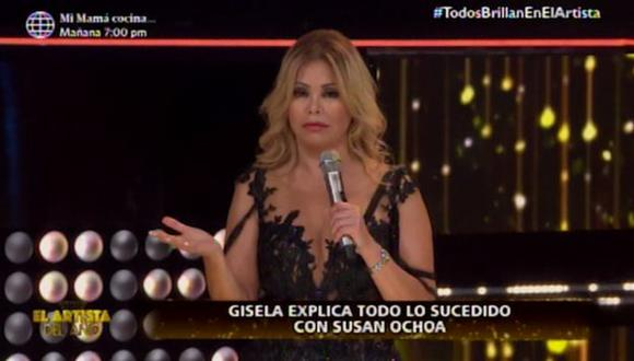 """Gisela, conductora de """"El artista del año"""", manifestó que espera un día conversar con Susan Ochoa. (Captura de pantalla)"""