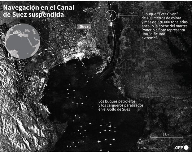 Foto satelital que muestra el Golfo de Suez en donde aguardan buques de carga y petroleros luego de que encallara en el canal que une al mar Rojo con el mar Mediterráneo un carguero de 400 metros de eslora, bloqueando la navegación. (AFP).