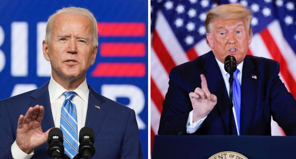 Ante el ascenso de Biden (izquierda) en los estados clave pendientes, el presidente Trump (derecha) ofreció una declaración en la Casa Blanca en la tarde del jueves en la que dudó de la fiabilidad del sistema electoral. (REUTERS/Kevin Lamarque/Carlos Barria).