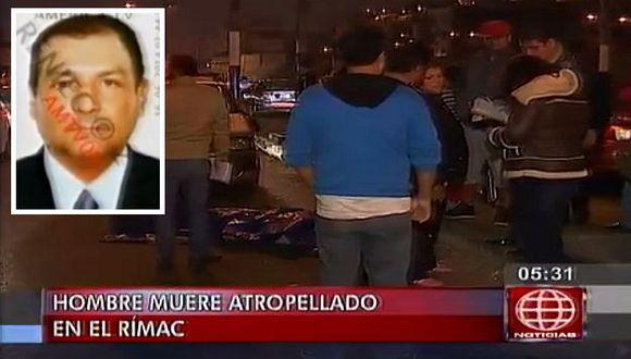 Hombre muere atropellado por no usar puente peatonal. (Captura de TV)