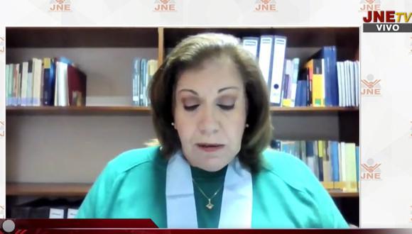 Lourdes Flores Nano consideró que se ha violado el debido proceso en la resolución de impugnaciones en el JNE tras la segunda vuelta. (Foto: Captura JNETV)