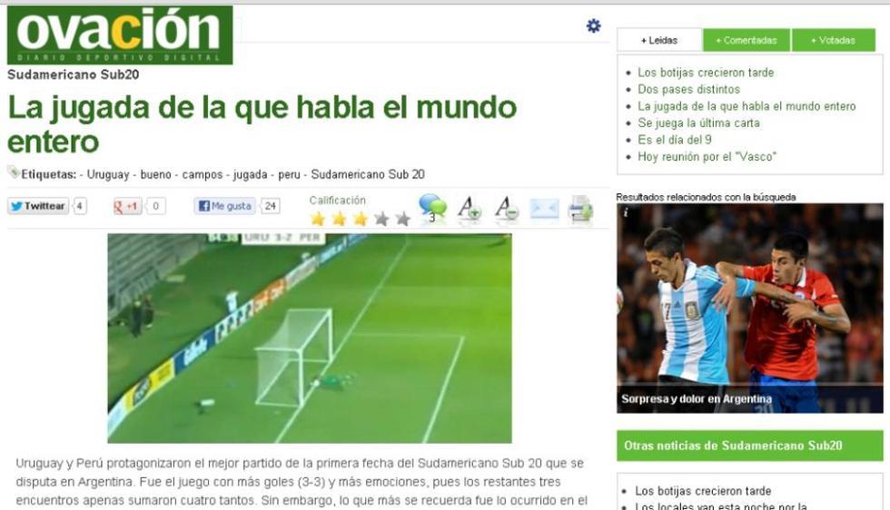 El diario El País de Uruguay lo destaca en su sección deportiva. (ovaciondigital.com.uy)