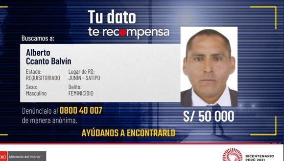 Alberto Ccanto Balvín (43) es buscado por el homicidio de dos de sus parejas, a una de las cuales descuartizó.