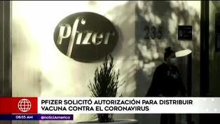 Pfizer solicitó autorización de emergencia para su vacuna contra el COVID-19