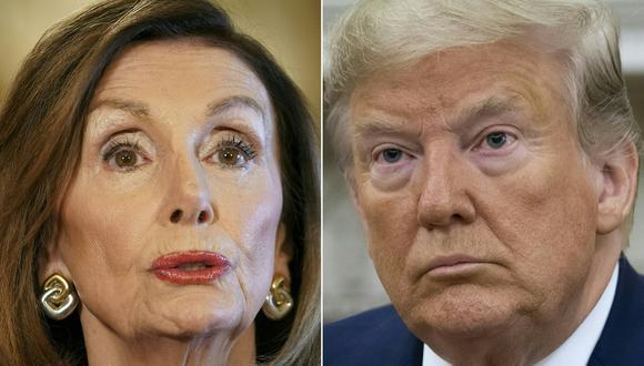 Nancy Pelosi afirmó que está lista para lanzar un segundo proceso de juicio político contra el presidente Donald Trump. (Fotos: Mandel NGAN and SAUL LOEB / AFP)
