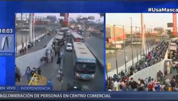 Decenas de personas llegaron esta tarde al centro comercial Megaplaza. Foto: (Captura Canal N)