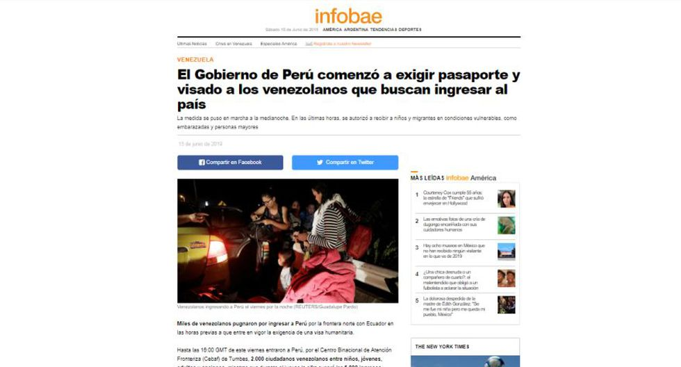 Así informa el medio argentino Infobae sobre la exigencia de visa y pasaporte a los venezolanos en el Perú. (Captura)