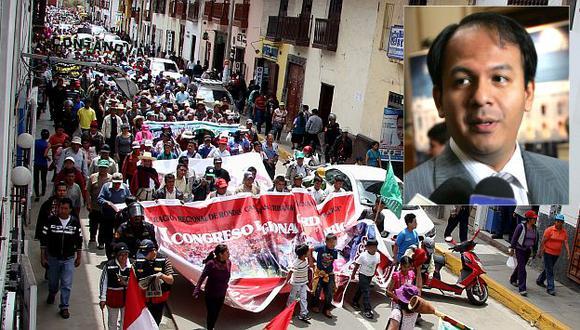 Juan Díaz Dios pide al Gobierno intervenir en marchas antimineras en Cajamarca. (Fabiola Valle)
