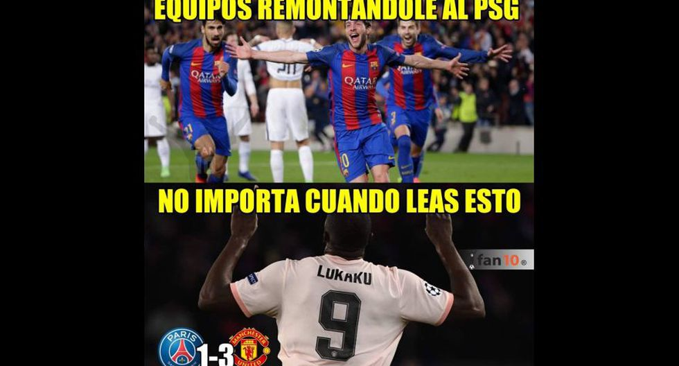 Los memes que dejó la eliminación de PSG a manos de Manchester United en octavos de final de Champions League. (Facebook)