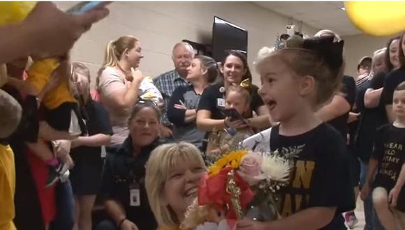 La pequeño quedó sin palabras al ver el increíble gesto que le preparó su centro educativo. (Foto: TVH11 en YouTube)