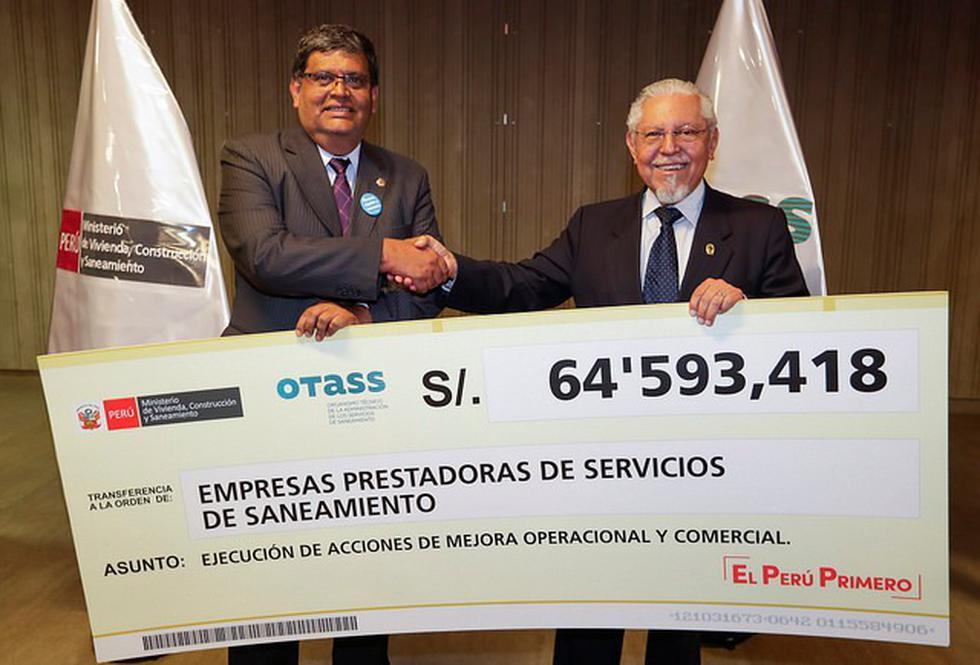 OTASS transfirió 93 millones de soles para mejorar servicios de saneamiento de 49 EPS .(Difusión)