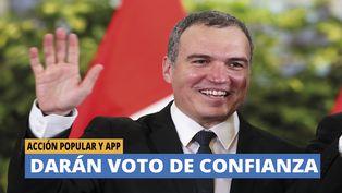 Acción Popular y APP darán voto de confianza a gobinete Del Solar