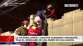 La Victoria: niños y adultos terminaron atrapados tras derrumbe de una pared