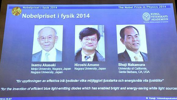 Los galardonados con e Nobel de Física 2014. (AFP)