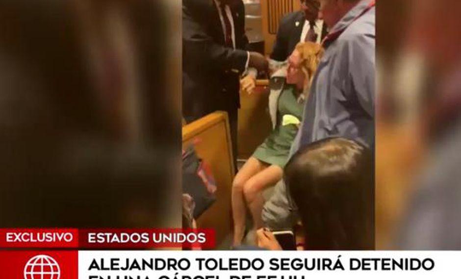 Eliane Karp también fue graficada por el incidente que protagonizó en la sala de audiencias por el caso Alejandro Toledo. (Fuente: América TV)