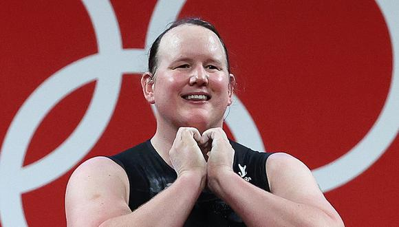 TOKYO, JAPAN - AUGUST 2, 2021: New Zealand's Laurel Hubbard competes in the women's +87kg group A final weightlifting event during the 2020 Summer Olympic Games at the Tokyo International Forum. Laurel Hubbard is the first transgender woman to compete in the Olympics. Stanislav Krasilnikov/TASS (Photo by Stanislav Krasilnikov\TASS via Getty Images)