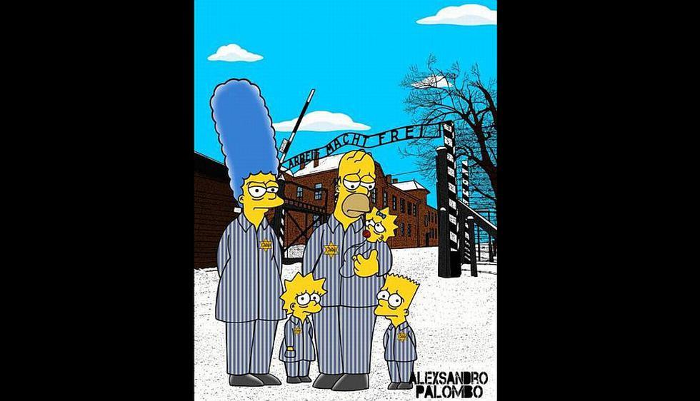 Homero, Bart, Lisa, Maggie y Marge aparecen como prisioneros judíos. (Alexsandro Palombo)