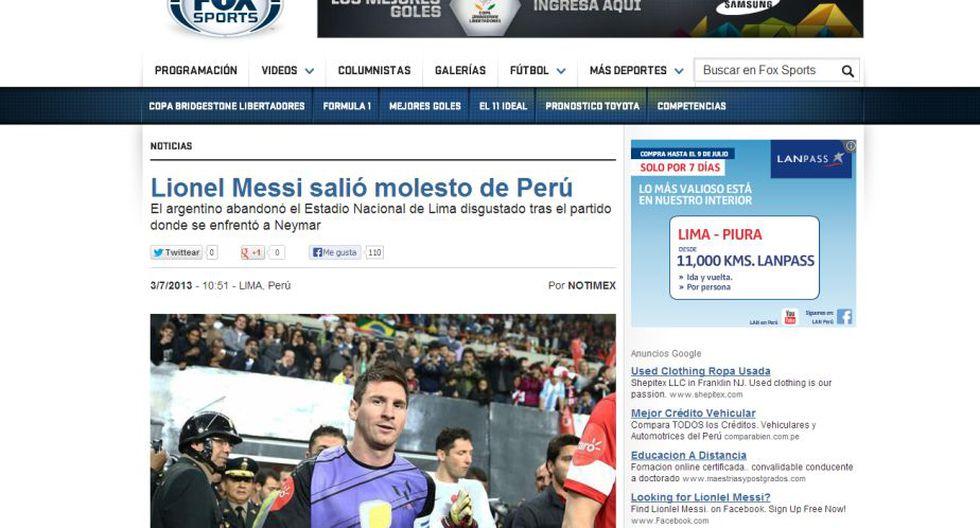 Fox Sports solo destacó la molestia del argentino y no el festival de goles.