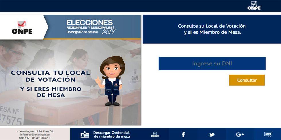 En la web de la ONPE podrás conocer tu lugar de votación y si eres miembro de mesa en las próximas Elecciones Regionales y Municipales 2018. (Foto: Captura)
