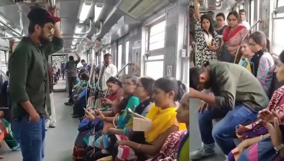 Un video viral muestra la táctica de un joven para hacerse siempre de un asiento en el metro.   Crédito: @tube.indian / Instagram